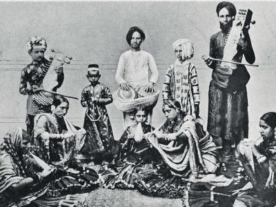 A troupe of Indian show people.