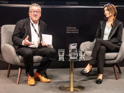 Allan Little and Elif Shafak at the Book Festival 2019