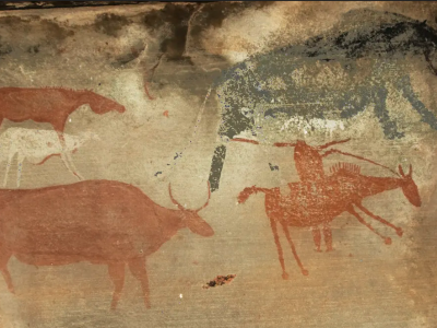 Painting of a raider on horseback (bottom right) with a musket and domestic stock.